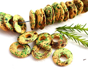 Cornflake Yellow brown green mixed color rondels, greek Ceramic beads, donut, rondelle, washer, 10mm - 20pc - 0548