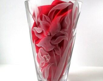Vintage Cala Lilly Glass Vase, Franz Grosz, Unique Vintage, art glass, beautiful vase, 1950s