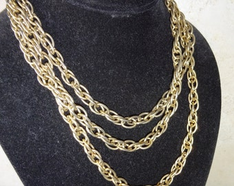 Vintage Necklace Gold Tone Long Chain Chunky Chain Link Necklace