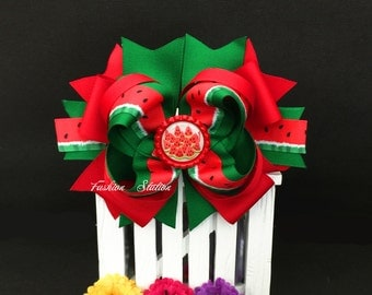 Watermelon Over The Top Cute bow for babies, toddlers and big girls ~ Bow measures approximately 6.5 inches