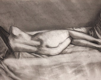 Nude Girl female Original Life drawing charcoal on paper