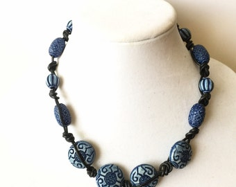 Hand Knotted Blue Necklace, Oriental Motif, OOAK
