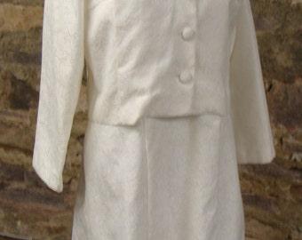 off-white VINTAGE JACQUARD DRESS and jacket set 1960's 60's M L