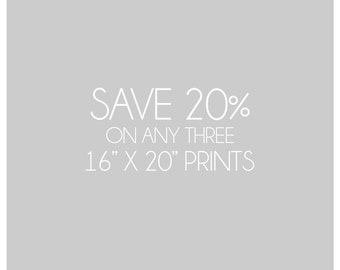 Save 20%, Custom Gallery Wall, Photography Collection, Choose any Three Prints, 16x20, Save on Multiple Prints