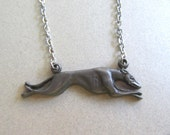 Vintage 1970s Never Worn Pewter Greyhound Necklace Greyhound Rescue Vet Gift Dog Lover Dogs Vintage Costume Jewelry