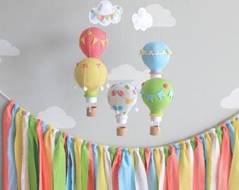 Primary Colors Baby Mobile, Hot Air Balloon Mobile, Custom Mobile, Nursery Decor, Travel Theme Nursery, i159
