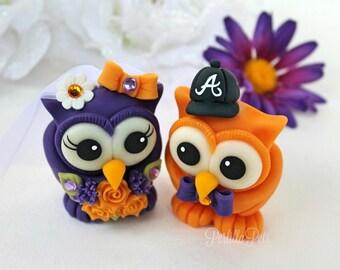 Wedding cake topper, owl love bird cake topper, personalized bride and groom figurines, purple and orange wedding