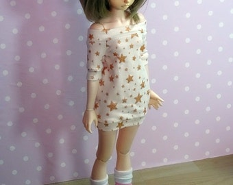 Gold stars cream dress/tunic for MSD doll fairyland minifee unoa etc