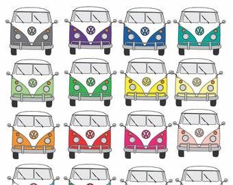 Kombi Van clip art, volkswagen clipart, hippy van, camper clip art x 16