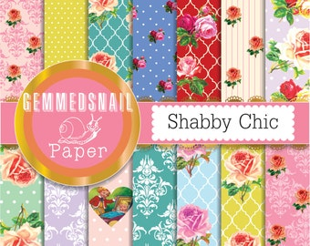 Shabby chic scrapbook paper, shabby chic roses digital paper x 14