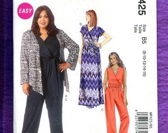 McCalls 425 Jumpsuit & Dress with Mock Wrap Bodice Size 8  10 12 14 16 UNCUT