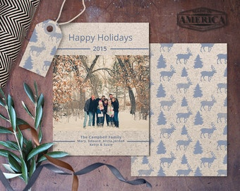 Christmas Card Template - Photoshop Template - 5x7 card - Kraft Paper Card - Feels Like Christmas - CC220 - INSTANT DOWNLOAD