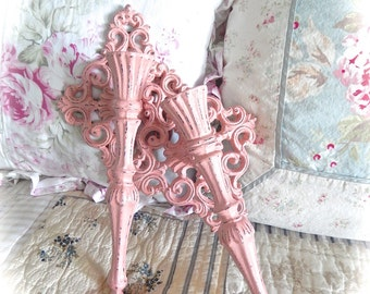 ON SALE Shabby Distressed Coral Pink Edwardian Ornate Scrolled Candle Wall Sconces Set Cottage Chic