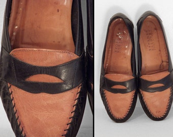 BARNEY'S NY Penny Loafers Italian Leather 1990s Men's Size 7.5 W Size 9.5 Two Tone