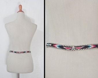 Beaded THUNDERBIRD Belt // 70s Tribal Leather // Red Black Sky Blue Size 32
