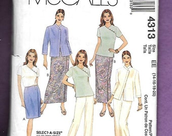 McCall's 4313 Misses' Wardrobe With 7/8 Length Sleeve Jacket, Short Sleeve Top, Pants, And Straight Wrap Skirts, Sizes 14, 16