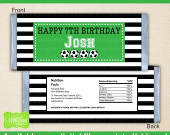 Soccer Chocolate Bar Wrappers - Soccer Candy Bar Wrapper - Sports Candy Bar Wrapper - Digital & Printed