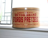 Large Victor Brand Sturgis Pretzels Tin Vintage Kitchen Decor