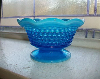 Westmoreland Glass Blue Opalescent Hobnail Candy Dish or Mayonnaise Vintage 1970s