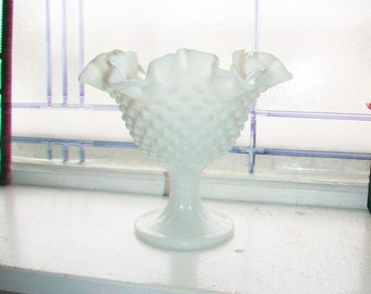 Vintage Hobnail Milk Glass Candy Dish Compote
