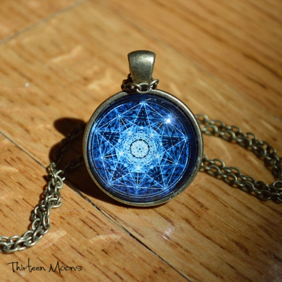 Compass Rose Midnight Blue Vintage Inspired Glass Cabochon Art Pendant Necklace