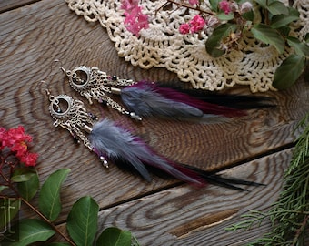 slate grey, grape, and black feather chandelier earrings