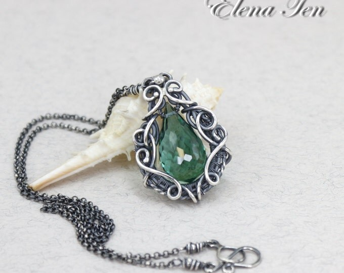 Green stone necklace green amethyst necklace teardrop necklace green pendant amethyst green necklace sterling silver february birthstone