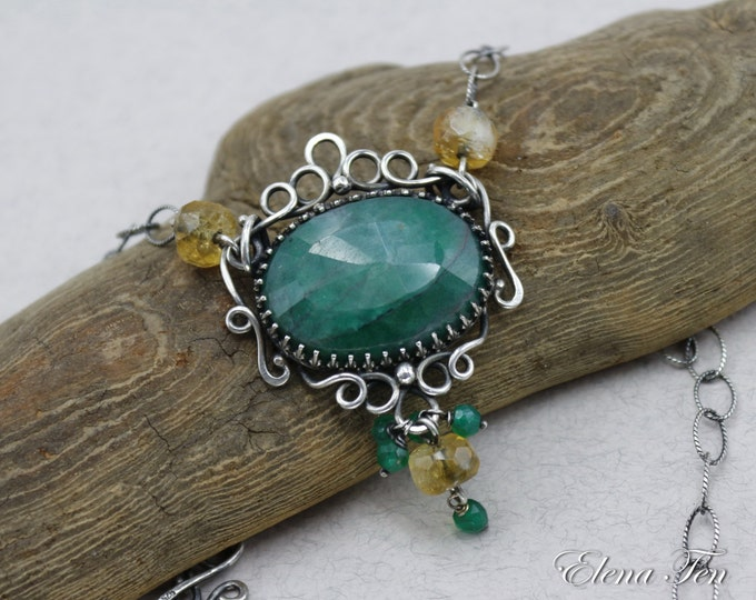 Emerald Necklace Wire Wrap Necklace Green Stone Necklace May Birthstone Necklace Sterling Silver Necklace Taurus Birthstone One of a kind