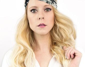 Black Floral Twist Headband, Boho Turban Head band, White Womens Gift For Her Adult Headband Womens, Twisted Knot Stretch, Turband Bohemian