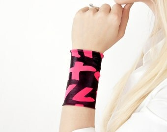 Neon Wrist Cuff Bracelet, Stretch Cuffs, Pink Black Letter Tattoo Cover Up Covers, Long Wide Arm Wristband Band, Fabric Jewelry Women