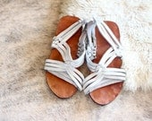 white leather sandals / vintage