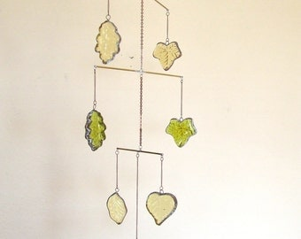 Autumn Stained Glass Leaf  Mobile With Copper and Brass - Perfect Fall Decor -- Reduced 33%