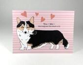 Corgi valentines day card - corgi dog card - corgi valentine greeting card - pembroke corgi love card - corgi dog anniversary card
