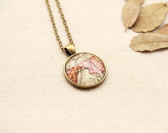 Personalized State Map Necklace - Maryland -Custom Vintage Map Series MS38