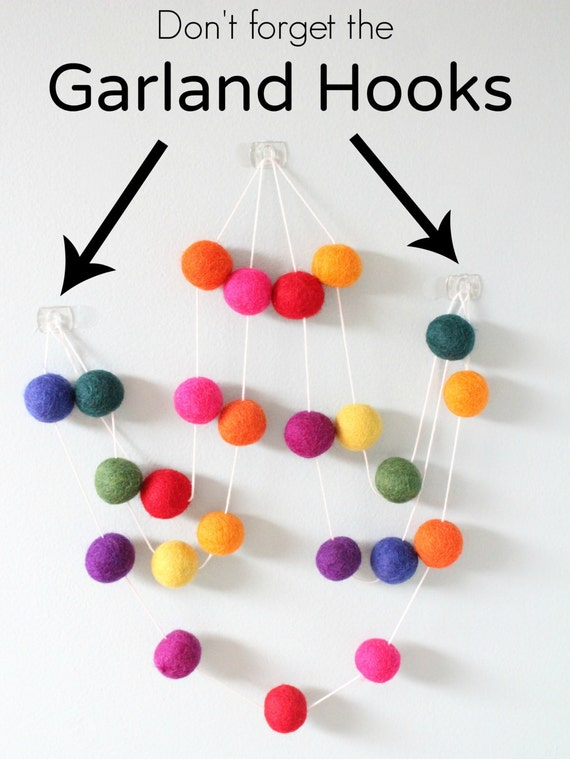 Perfect Garland Hooks Hang Up Your Felt Ball By Sheepfarmfelt