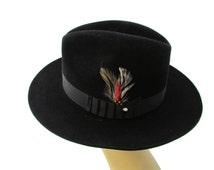 Mens Fedora Hat Size 6 7/8 Black Stetson Hat Vintage Hats For Men Mans Three Corner Hats Stetson Hats Mens Hats