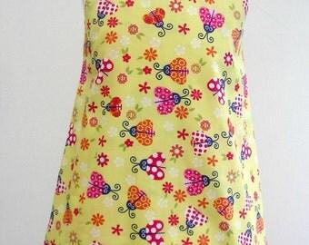 Girls Dress, Girls Reversible Dress,  Girls Clothing, Girls Pinafore, Childs Clothing,  A line Pinny Jumper, Ladybird Elephant Giraffe Zebra