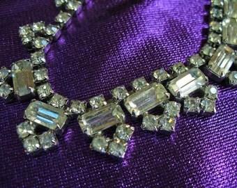 Vintage BLING Valentine's Day Birthday Wedding Necklace Rhinestones Art Deco Holiday Party