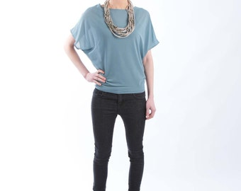 Seafoam Color Loose Top with Bat Sleeves - made from lightweight semi-sheer jersey knit