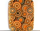 Funky vintage 70's rectangular fibreglass serving tray with pop art roundels in orange, beige, green and brown