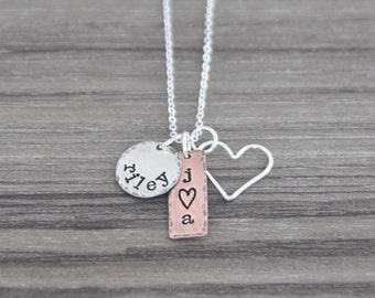 Hand Stamped Mothers Necklace with Name and Initials - Mixed Metal Charm Necklace - Personalized Mommy Necklace