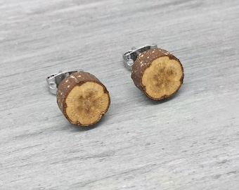 Flower Pattern Wood Slice Stud Earrings - Hardwood Post Earrings Natural Wood Stud Earrings with Surgical Steel Posts