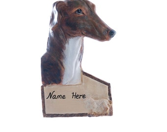 Greyhound personalized Christmas ornament - Brindle and white greyhound personalized with your choice of name or phrase  (21)