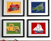 transportation wall art childrens wall art, - set of four - airplane truck train boat nursery art - art for boys wall art, boys nursery art