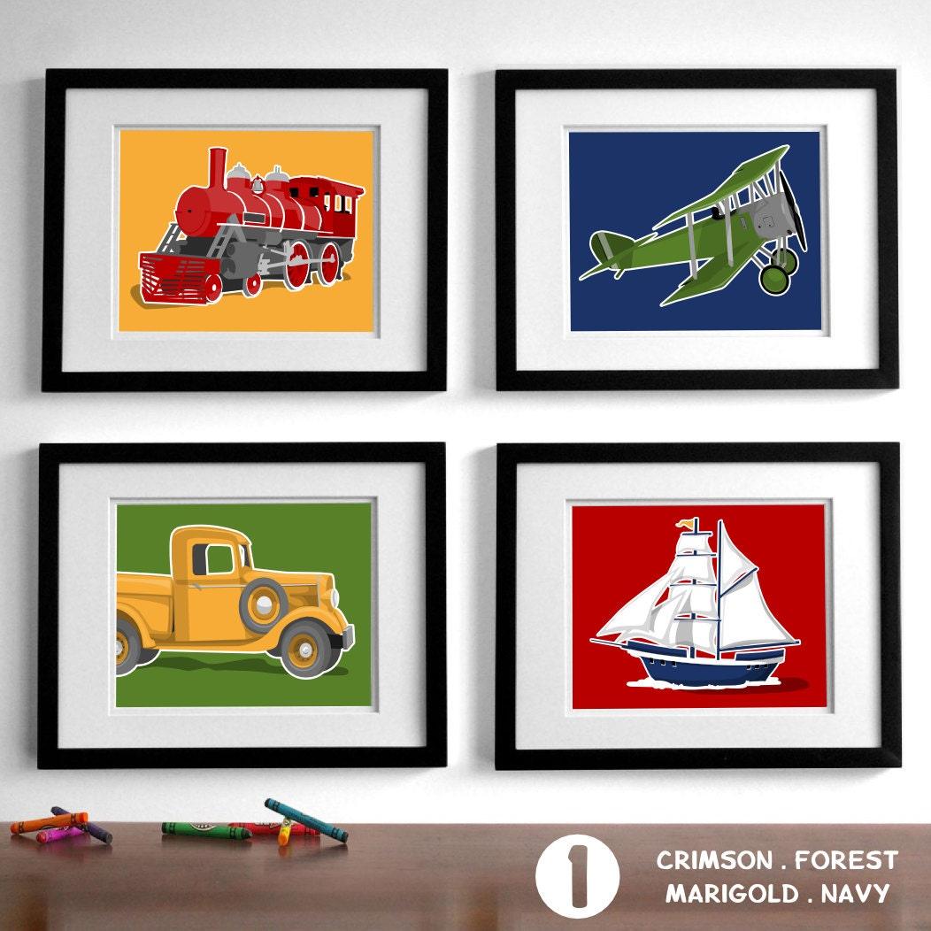 transportation wall art childrens wall art set of four - 🔎zoom