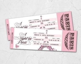 Night in Paris Ticket Birthday Party Custom Printable Invitation