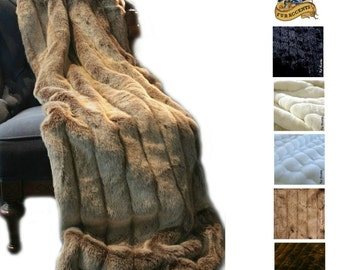 Faux Fur Mink Accent Throw - Ribbed Channel Mink Throw Blanket - All Sizes and Colors