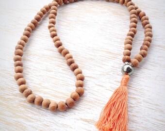 Raw Wood Pyrite Mala Bead Necklace, Mala Beads, 108 Mala Beads, Mala Necklace, Mala Beads 108, Buddhist Jewelry, Wooden Mala Beads, Pyrite