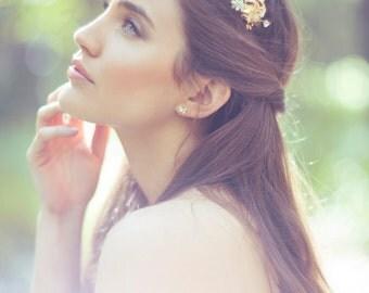 Wedding Headpiece, Woodland headband, Gold Bridal Hair Accessories, Rustic Wedding hair piece, Leaves, Wedding Crown, Bridal headband