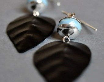 Sterling Silver Earrings, Black Leaf Earrings, Czech Glass Earrings, Hang Earrings, Long Earrings